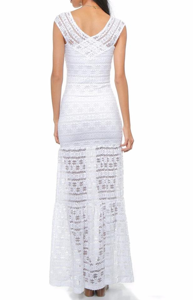 Nightcap White Lace Stretchy Draped Bodycon Gown New Casual Maxi Dress c32af570618b
