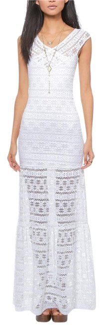 Item - White Lace Stretchy Draped Bodycon Gown New Long Casual Maxi Dress Size 8 (M)