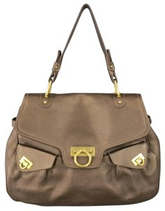 Salvatore Ferragamo Pebbled Metallic Leather Gancini Italian Satchel in Brown