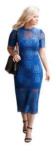 Alexis Lace High Neck Blue Dress