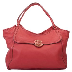 Tory Burch Amanda Large Leather Tote in Red
