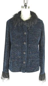 Roni Rabl Chenille Jacket Feathery Collar Sweater
