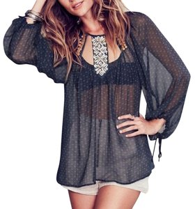 Free People Embellished Sea Shell Bohemian Print Swing Tunic