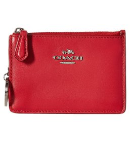 Coach Designer Silver-tone Leather Wristlet in True Red