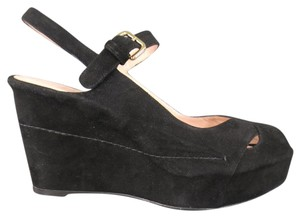 Stuart Weitzman Mary Jan Wedge Suede Platform Slingback Black Sandals