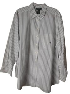 Lauren Ralph Lauren Plus-size Cotton Pinstripe Logo Longsleeve Top White