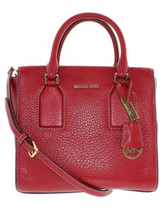 Michael Kors Designer Leather Gold Tone Hardware Satchel in Cherry