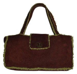 Chanel Mouton Satchel Leather Tote in Burgundy