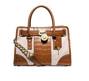 Michael Kors Satchel in Ecru/Walnut/Gold