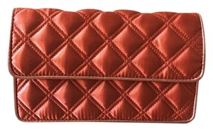Marc Jacobs Quilted Satin Evening Burnt Orange Clutch