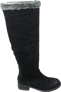 Steven by Steve Madden Chille 7 Faux Fur Suede Tall Black Boots