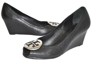 Tory Burch Wedge Slip On BLACK SILVER Boots