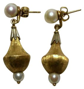 Antique Edwardian Victorian 14k Gold Etruscan Cultured Pearl Earrings