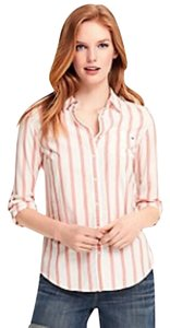 Tommy Hilfiger Oxford Shirt Striped Button Down Shirt Peach, White