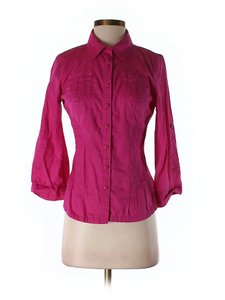 DKNY Jeans Buttons Small Button Down Shirt pink