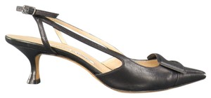 Manolo Blahnik Slingback Pointed Toe Leather Black Pumps