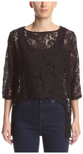 Michael Stars Hi Low Lace Top Black