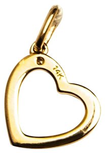 Other 14Kt Yellow Gold Heart Pendant or Charm with One .01 Diamond