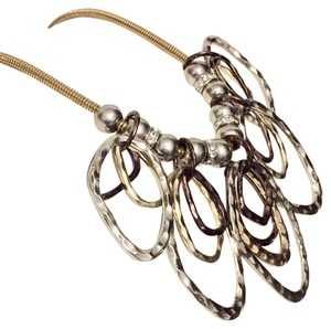 Chico's Chico's Multi Tone Metal Collar Bib Necklace Purple Black
