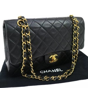 Chanel Vintage Lambskin Quilted Medium Double Flap Black Leather ... : chanel bag black quilted - Adamdwight.com