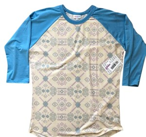 LuLaRoe T Shirt Blue, Pink, Cream