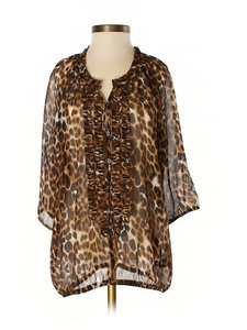 Express Animal Cheetah Small Blouse New Tunic