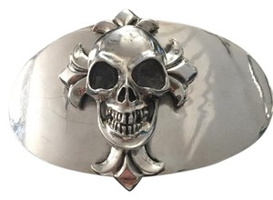 King Baby Sterling Silver Skull and Cross Belt Buckle