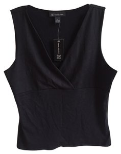 INC International Concepts Sleeveless Mockwrap Mock Wrap Top black