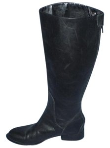 Enzo New Leather Angiolini Flat Black Boots