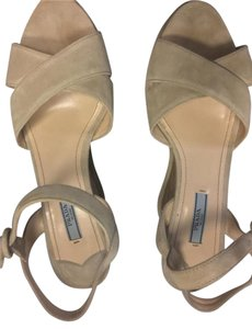 Prada Suede Open Toes Cream Wedges
