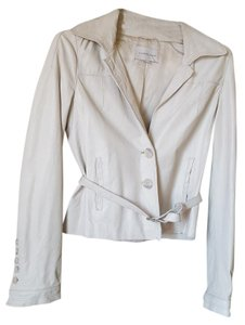 Turnover Leather Casual Party Spring Soft ivory white Jacket