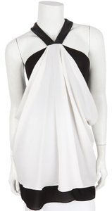 Yigal Azroul White & Black Halter Top