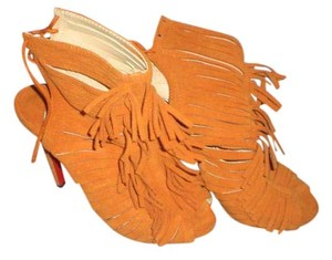 Christian Louboutin Fringe Open Toe ORANGE Boots