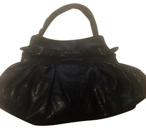 Miu Miu Leather Silk Tote in Black with Silver Hardware
