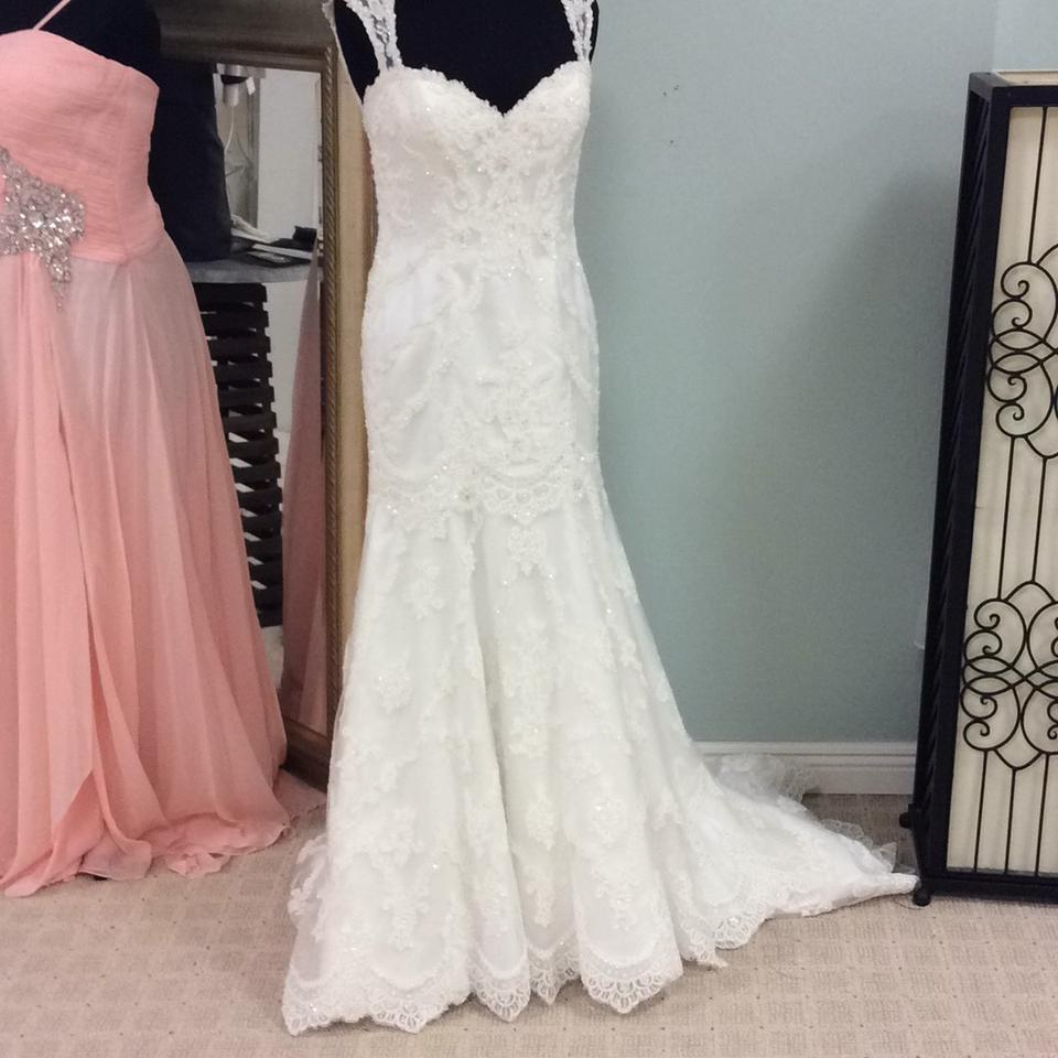 Sleek Wedding Gowns: Casablanca Ivory Beaded Lace Appliques On Tulle Over Sleek