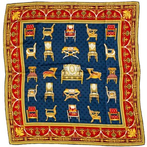 Gucci Gucci Blue, Red & Gold Chair Print Scarf