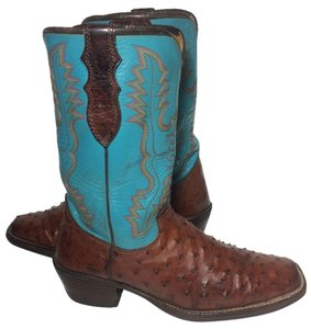 Justin Boots Justin Full Quill Justin Ostrich 8 Justin Cowgirl 8 Western 8 Blue Boots