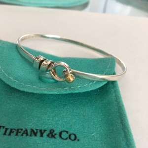 Tiffany & Co. Tiffany Co 18k Yellow Gold & Silver Hook Eye Bangle Bracelet w/ POUCH!!