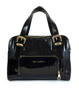 Ted Baker Business Casual Patent Leather Gold Hardware Rigged Shoulder Bag