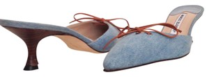 Manolo Blahnik Classic Denim Leather Vintage Washed Denim Mules