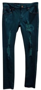 Puzzle Jeans Stretchy Viscose Cotton Distressed Straight Leg Jeans-Distressed