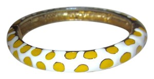 Kenneth Jay Lane Bangle Bracelet White with Yellow Leopard Spots Enamel Hinged 2006