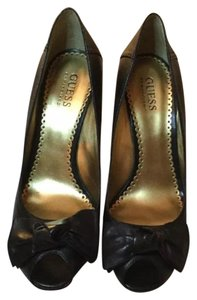 Guess Black leather Wedges