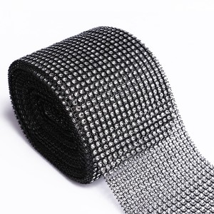 "Black 4.75"" X 10 Yards Diamond Mesh Wrap Roll Sparkle Bling Rhinestone Ribbon Crystal Ribbon Table Party Tools Ceremony Decoration"