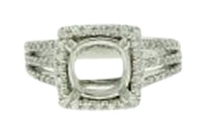 14k gold 1 &1/10 cts diamond halo semi-mount ring