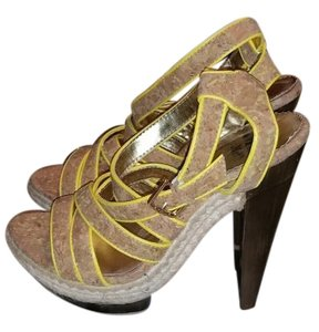 Miss Me Cork,yellow,brown Platforms