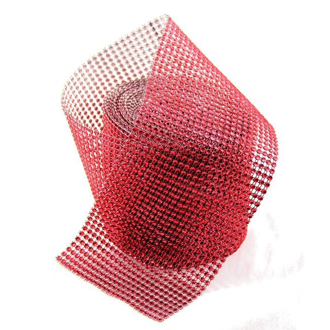 "Item - Red 4.75"" X 10 Yards Diamond Mesh Wrap Roll Sparkle Bling Rhinestone Ribbon Crystal Ribbon Table Party Supplies Votive/Candle"