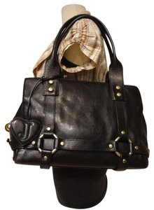 Juicy Couture Leather Hobo Studded Satchel in black