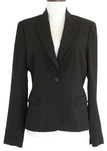Elie Tahari Pinstripe Fitted Designer Wool Work Black Blazer