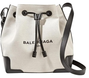 Balenciaga Bucket Navy New Canvas Leather Shoulder Bag
